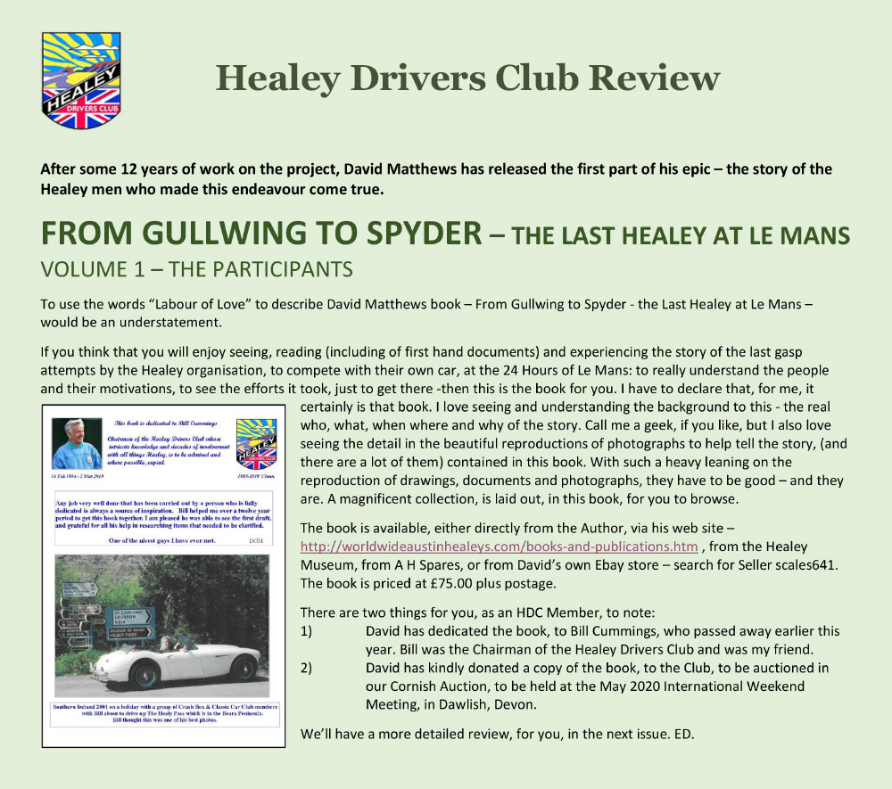 Healey Gullwing book review